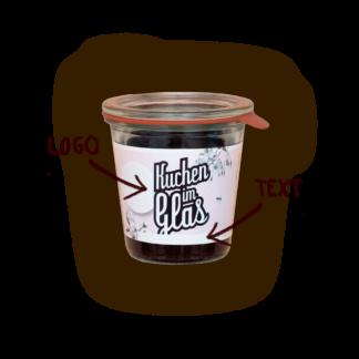 Kuchen im Glas mit Logo